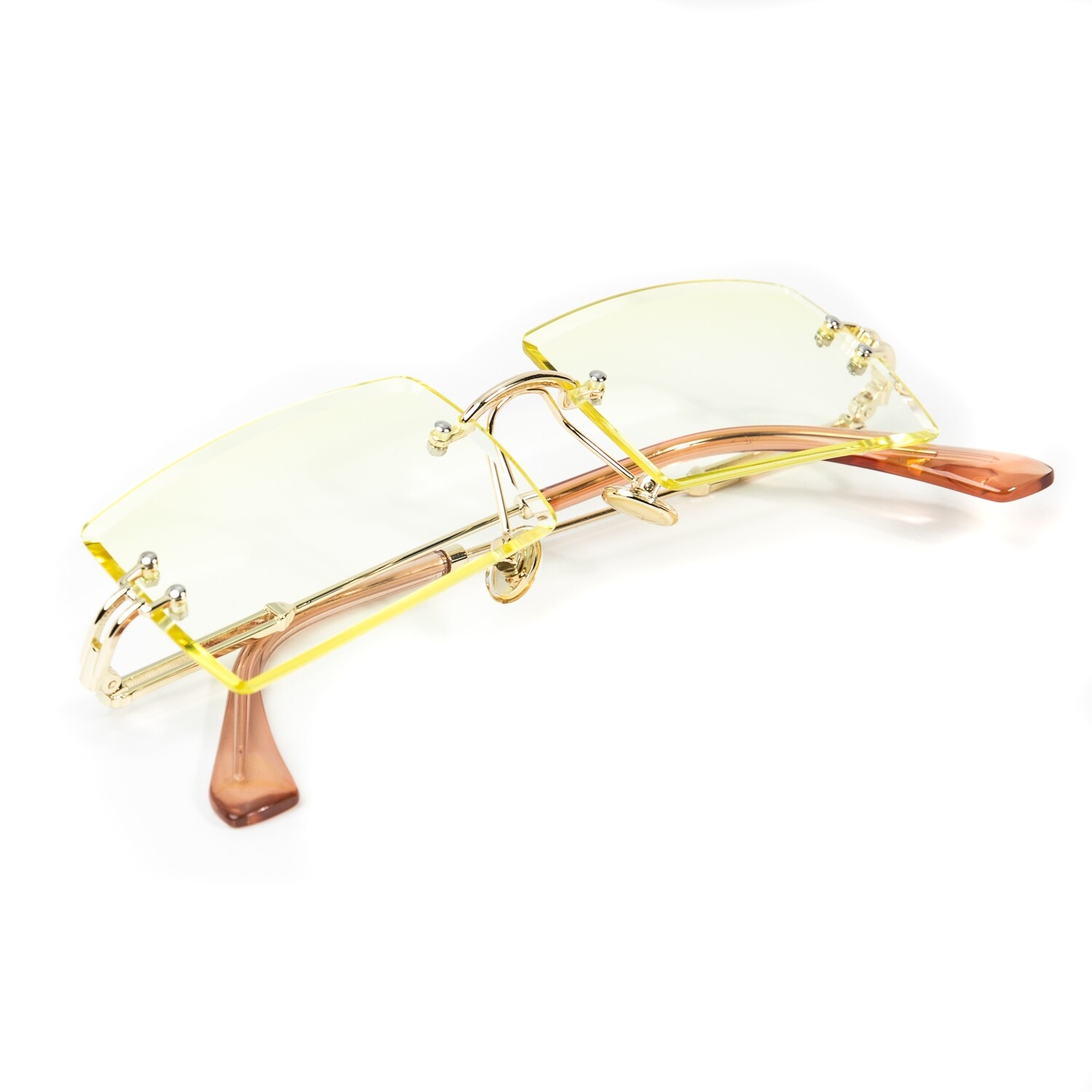 Mens Vintage Rimless Canary Yellow Tint Sunglasses