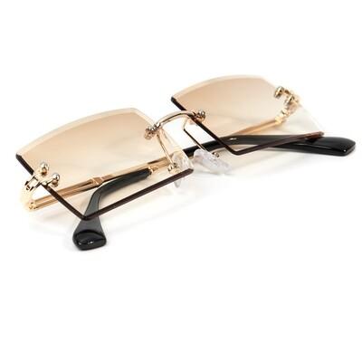 Mens Vintage Rimless Mocha Brown Tint Sunglasses