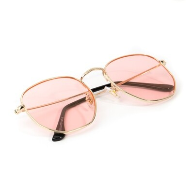 Gold Frame Pink Tint Retro Summer Sunglasses