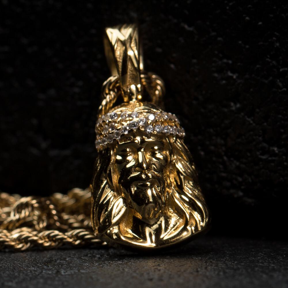 Mini Micro Gold Jesus Piece Pendant Necklace