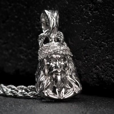 Mini Micro Silver Jesus Piece Pendant Necklace