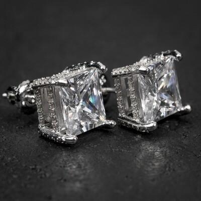 White Gold Princess Cut Square Stud Earrings