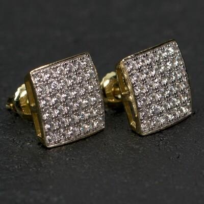Elegant Gold Sterling Silver Stud Hip Hop Earrings