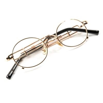Vintage Gold Clear Lens Retro Glasses