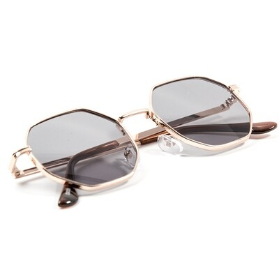 Gold Frame Grey Tint Retro Summer Sunglasses