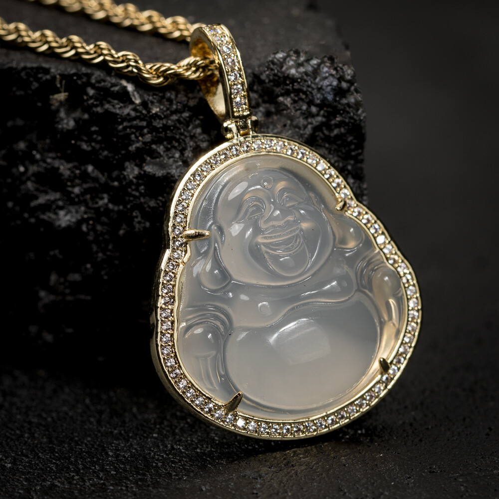 Clear Green Jade Buddha Pendant Necklace