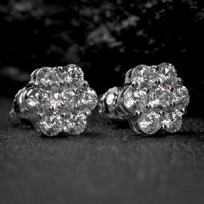 Mens Sterling Silver Flower Set Cluster Earrings
