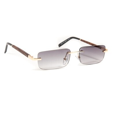 Mens Purple Tint Wood Rimless Sunglasses