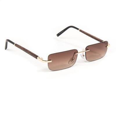 Mens Gold Brown Tint Wood Hip Hop Sunglasses