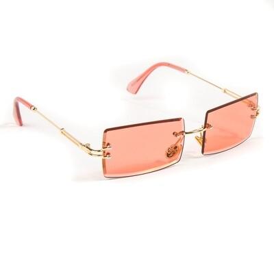 Mens Ruby Red Tint Hip Hop Rimless Sunglasses
