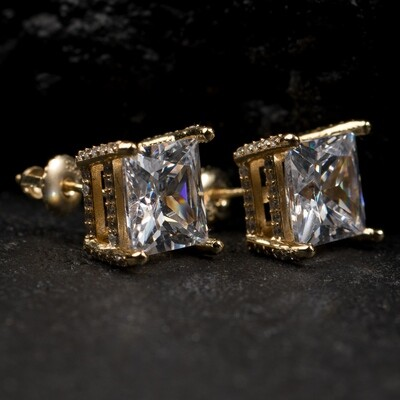 Gold Large Princess Cut Square Stud Earrings