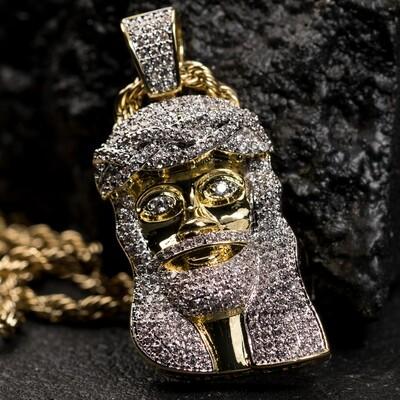 Mini Iced Two Tone Gold Jesus Piece Pendant Necklace