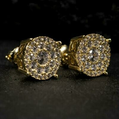 Iced Round 14K Gold Cluster Earrings