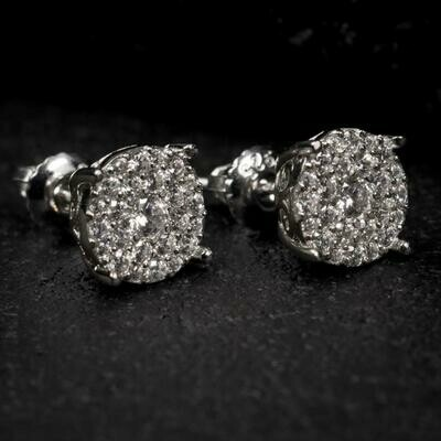 Iced White Gold Stud Cluster Earrings