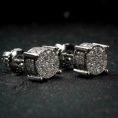 4 Prong Iced Sterling Silver Bullet Earrings