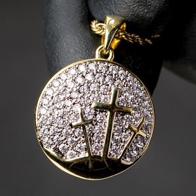 Gold Three Cross Iced Cz Pendant Necklace