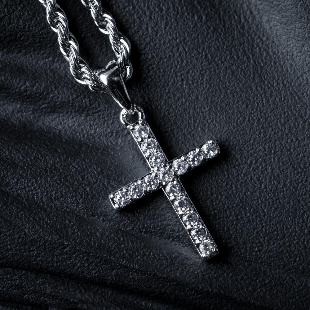 Mini Micro White Gold Iced Cz Cross Pendant