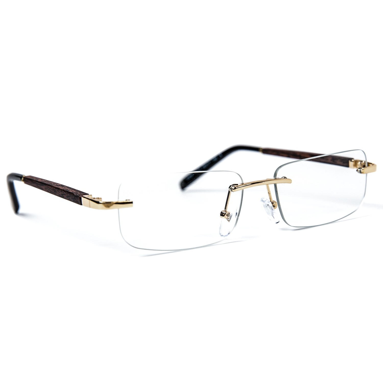 Retro Vintage Hip Hop Wood Clear Lens Glasses