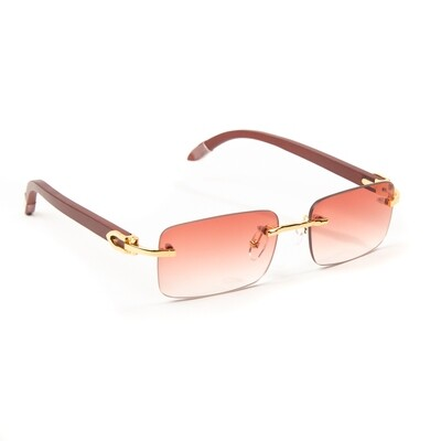 Mens Burgundy Tint Hip Hop Rimless Sunglasses