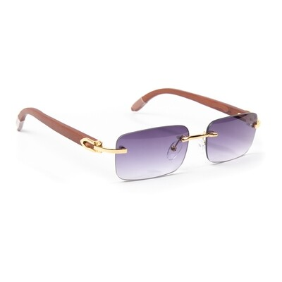 Mens Purple Tint Hip Hop Rimless Sunglasses