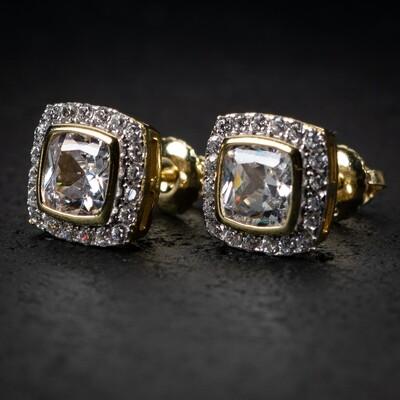 Mens Gold Elegant Princess Cut Square Stud Earrings
