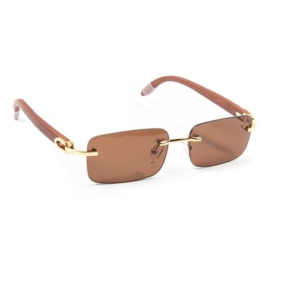 Mens Brown Tint Hip Hop Rimless Sunglasses