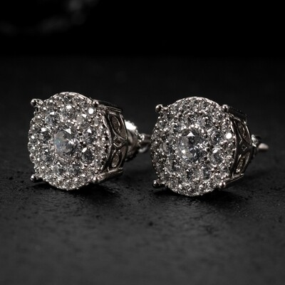 Large Sterling Silver Round Stud Cluster Earrings