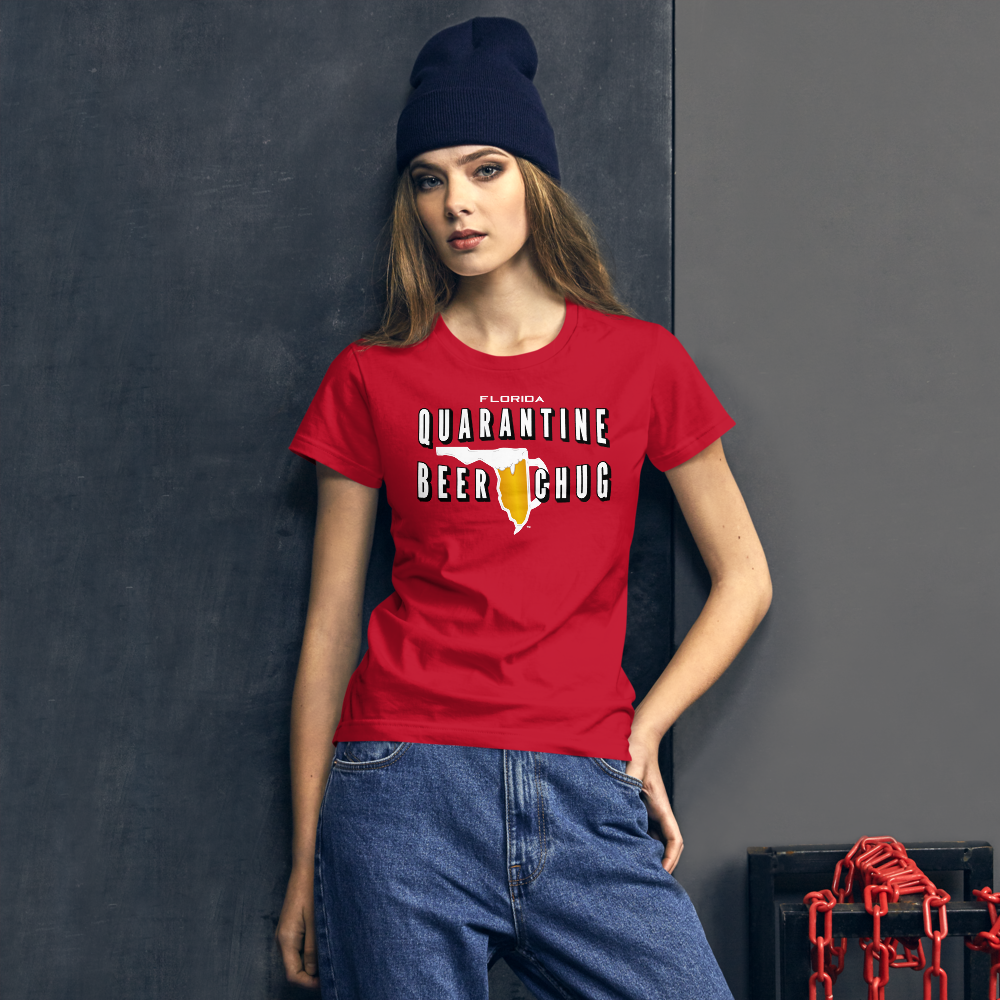 FLORIDA QUARANTINE BEER CHUG Women's short sleeve t-shirt by FLOMAZIN