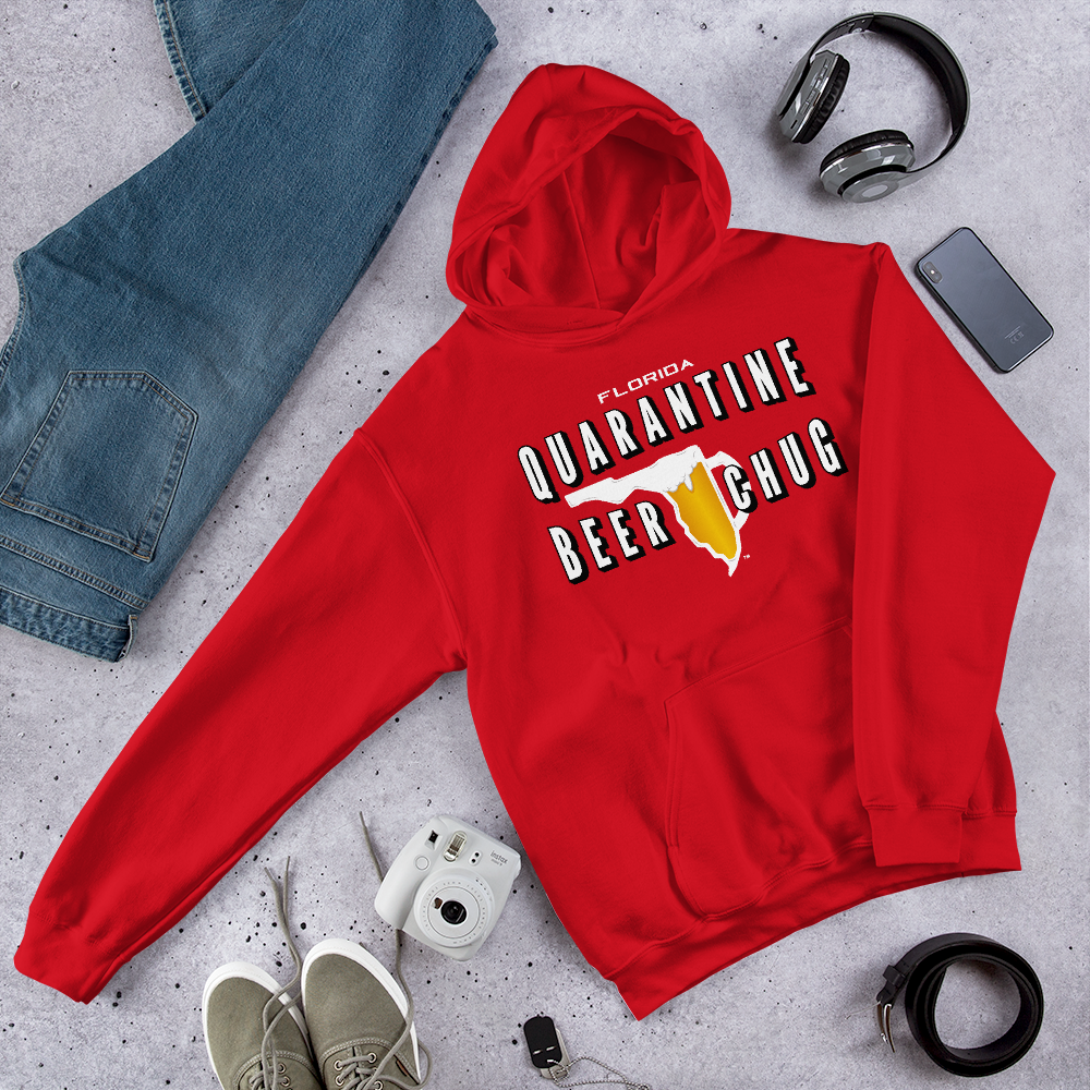 FLORIDA QUARANTINE BEER CHUG Hoodie by FLOMAZIN
