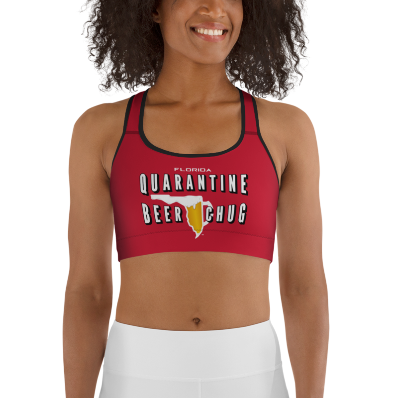 FLORIDA QUARANTINE BEER CHUG Sports Bra by FLOMAZIN