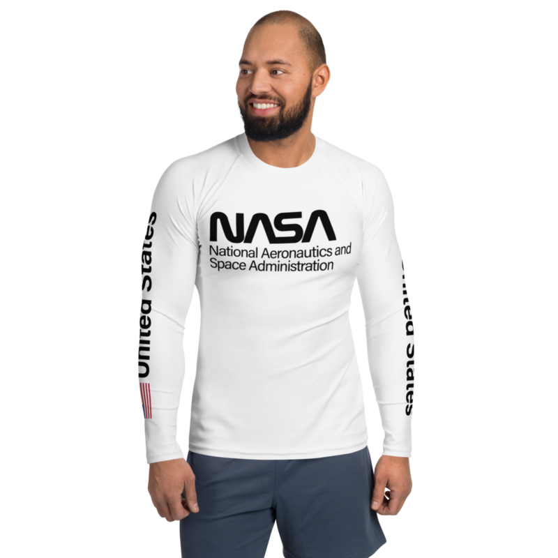 PROJECT POWER NASA UNITED STATES USA FLAG Men's Rash Guard Style White Long Sleeve Shirt Worn by Jamie Foxx