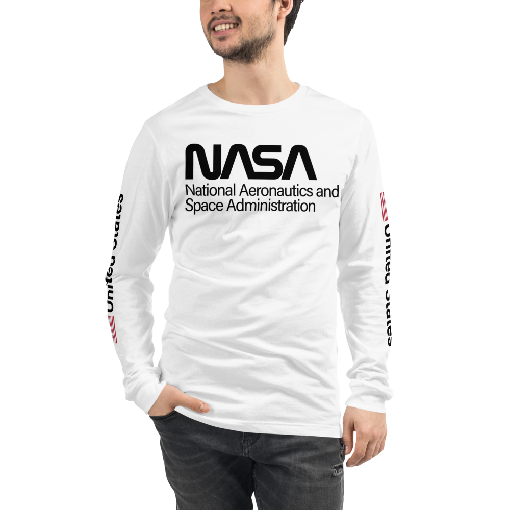 PROJECT POWER NASA UNITED STATES USA FLAG Unisex Long Sleeve White Tee Shirt Worn by Jamie Foxx