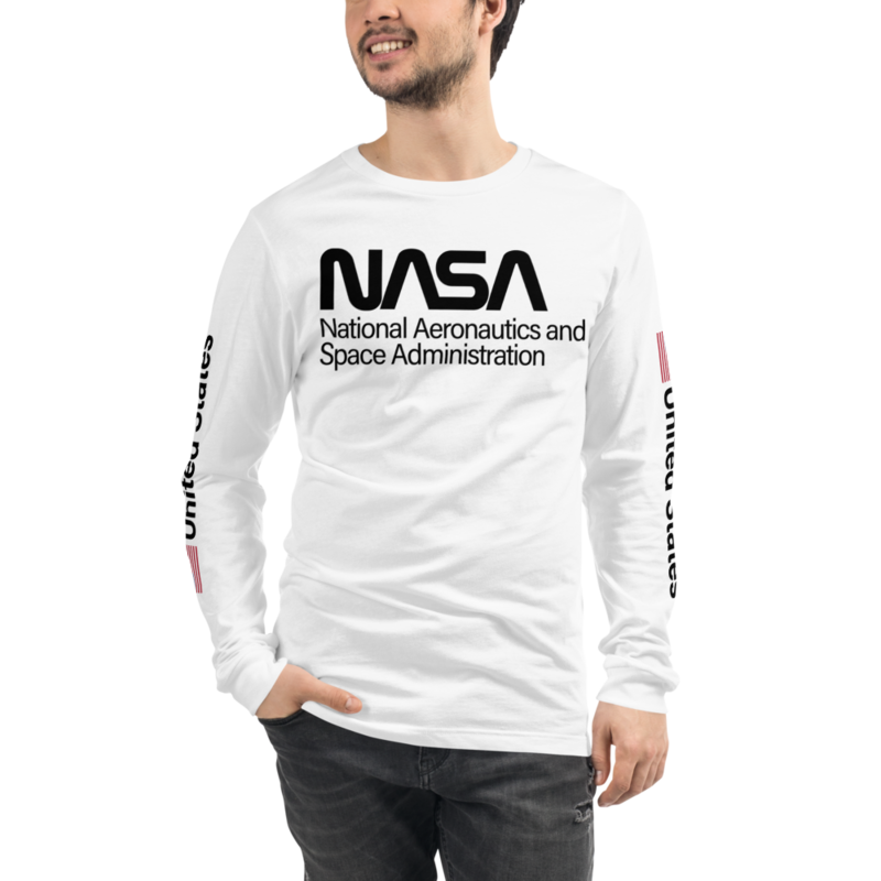PROJECT POWER NASA UNITED STATES USA FLAG Unisex Long Sleeve White Tee Shirt Worn by Jamie Foxx