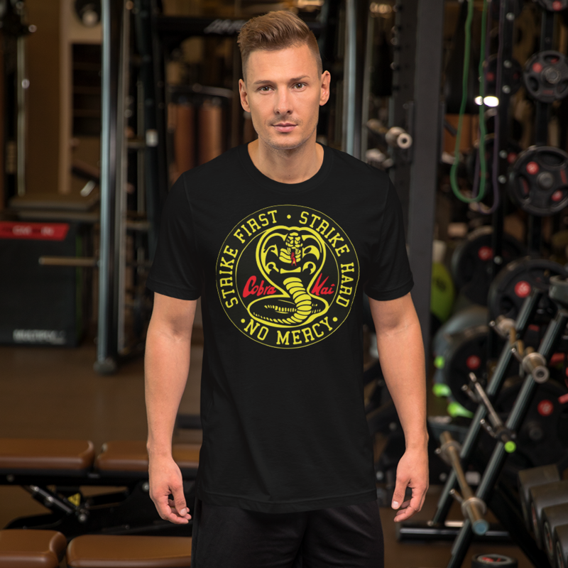 COBRA KAI DOJO VINTAGE STRIKE FIRST, STRIKE HARD, NO MERCY PATCH LOGO from the KARATE KID Netflix TV Movie Show Series Short-Sleeve Unisex T-Shirt
