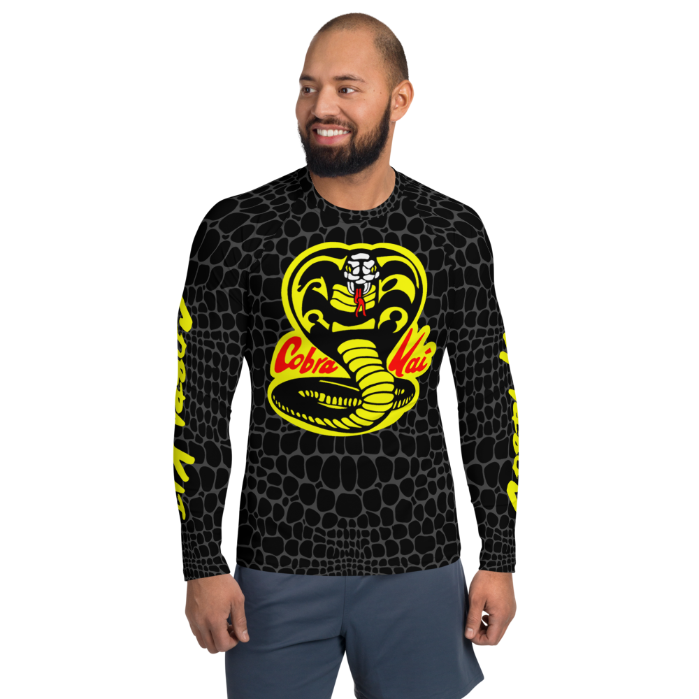 COBRA KAI Dojo Logo Men's Rash Guard Surfer Fishing Long Sleeve Shirt from the Cobra Kai Netflix Youtube Series and Karate Kid Movies - New Vintage Retro Novelty Gift