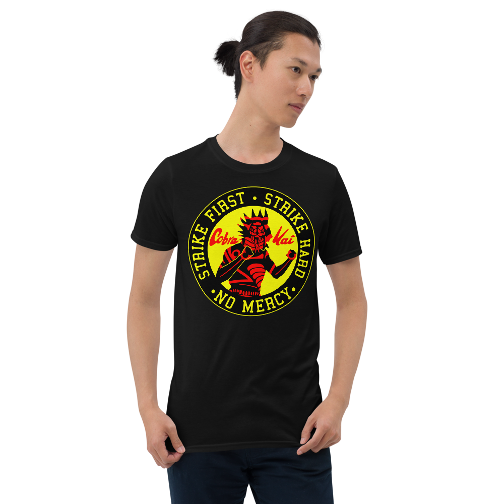 COBRA KAI HAWK PATCH Dojo Logo Short-Sleeve Men's Unisex T-Shirt from the Cobra Kai Netflix Youtube Series and Karate Kid Movies - New Vintage Retro Novelty Gift
