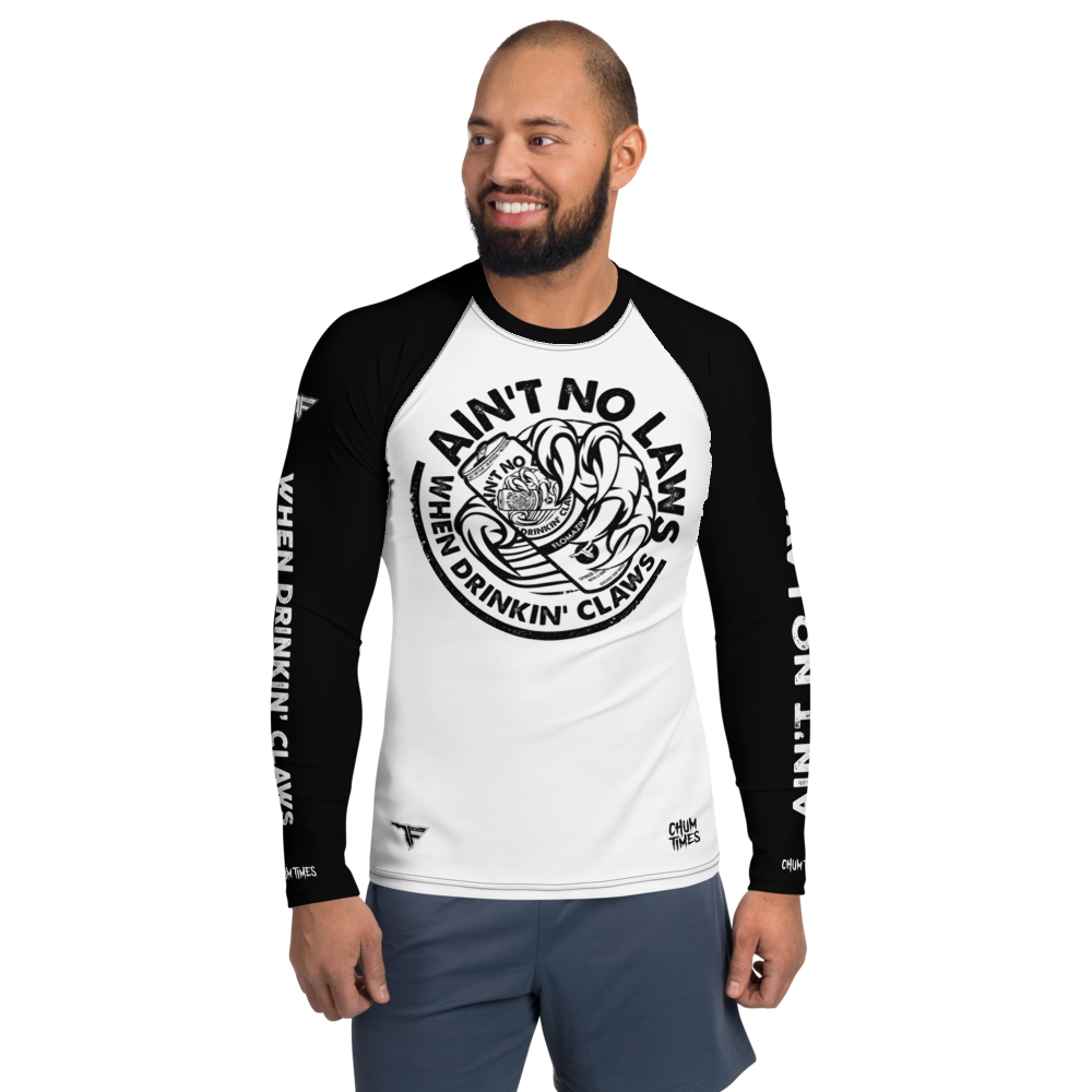 FLOMAZIN  AIN'T NO LAWS WHEN DRINKING CLAWS WHITE CLAW Men's Rash Guard Long SLeeve Shirt