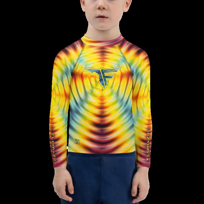 FLOMAZIN CHUM TIMES - FLORIDYE Kid's Fitted Rash Guard Long Sleeve UPF Fishing Surfing Shirt