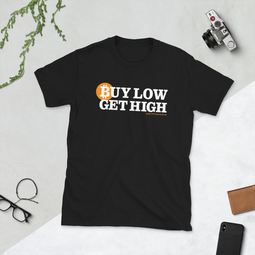 BUY LOW GET HIGH CRYPTO BITCOIN DOGE ETHEREUM CARDANO Short-Sleeve Unisex Men's Women's T-Shirt