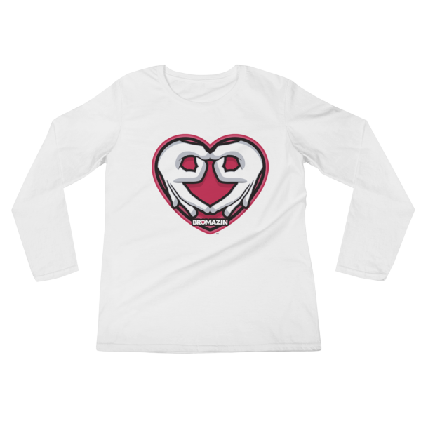 BROMAZIN VALENTINE HEART HANDS Ladies' Long Sleeve T-Shirt - Multiple Colors