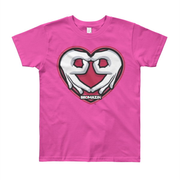 BROMAZIN VALENTINE HEART HANDS Youth Short Sleeve T-Shirt - Multiple Colors