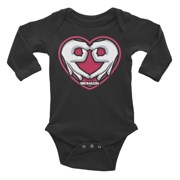 BROMAZIN VALENTINE HEART HANDS Infant Long Sleeve Bodysuit - Multiple Colors