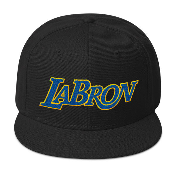 LABron Snapback White and Black Hat Blue and Gold Logo