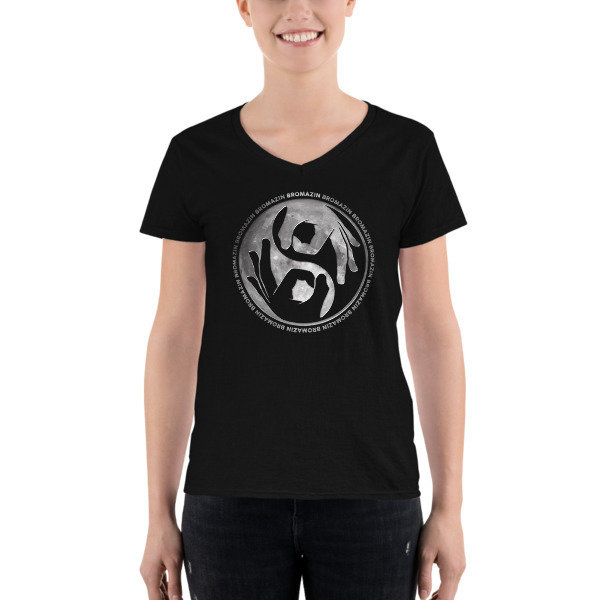 BRO YANG FULL MOON Women's Black Casual V-Neck Shirt