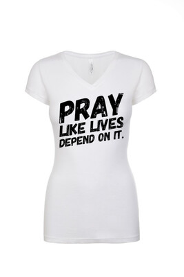 *NEW* PRAY - Ladies V-Neck Tee (White)