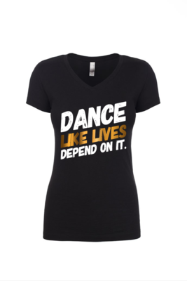 DANCE - Ladies V Neck Tee | with GOLD