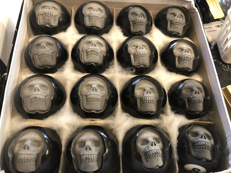 8 Ball Carved Human Skulls