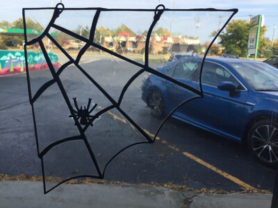 Stained Glass Spider Web In Black
