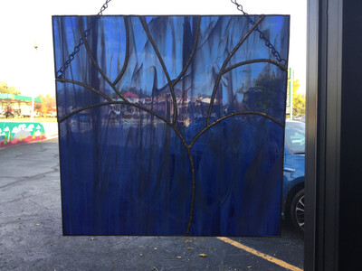 Stained Glass Blue Tree