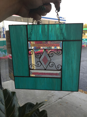 Stained Glass Teal Diamond